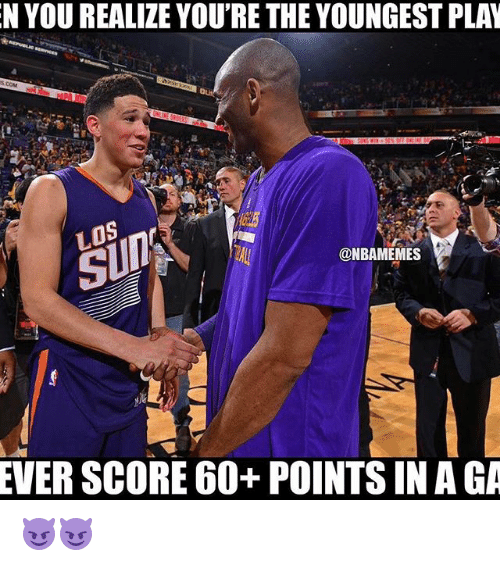 Nba, Score, and Aga: N YOU REALIZE YOU'RE THEYOUNGESTPLAN  @NBAMEMES  EVER SCORE 60+ POINTS IN AGA 😈😈