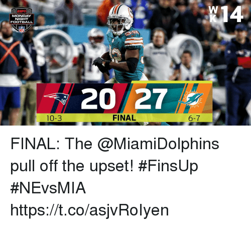 Football, Memes, and Nfl: N14  MONDAY  NIGHT  FOOTBALL  NFL  20 27  10-3  FINAL  6-7 FINAL: The @MiamiDolphins pull off the upset! #FinsUp  #NEvsMIA https://t.co/asjvRoIyen