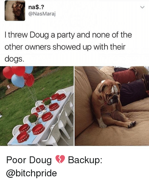 Douge: na  @Nas Maraj  I threw Doug a party and none of the  other owners showed up with their  dogs. Poor Doug 💔 Backup: @bitchpride