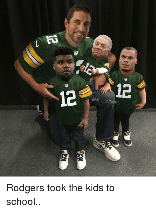 Football, Nfl, and Sports: na  NFL MEMES Rodgers took the kids to school..