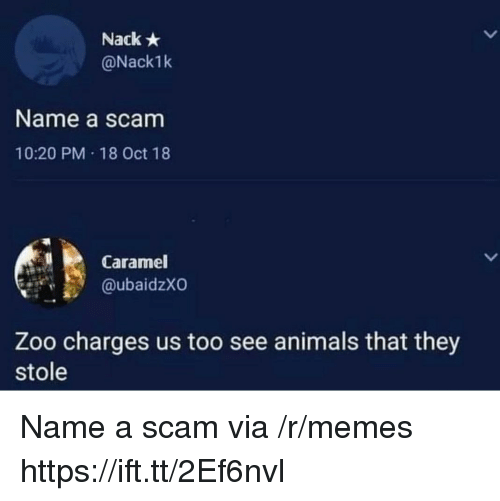 caramel: Nack  @Nack1k  Name a scam  10:20 PM 18 Oct 18  Caramel  @ubaidzXO  Zoo charges us too see animals that they  stole Name a scam via /r/memes https://ift.tt/2Ef6nvl