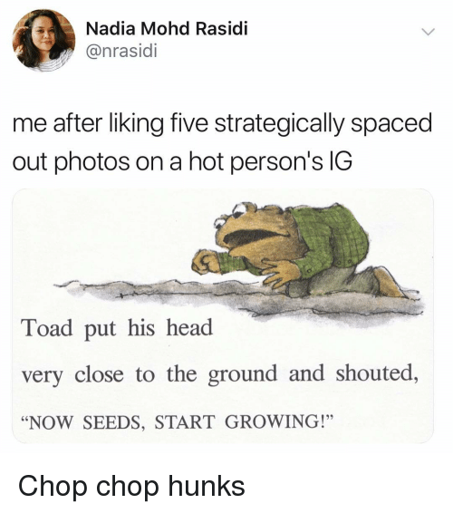 "chop chop: Nadia Mohd Rasidi  @nrasidi  me after liking five strategically spaced  out photos on a hot person's IG  Toad put his head  very close to the ground and shouted,  ""NOW SEEDS, START GROWING!"" Chop chop hunks"