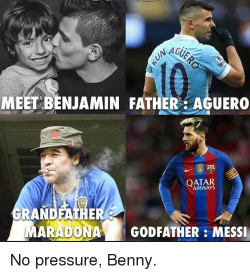 godfathers: NAGUS  MEET BENJAMIN FATHER AGUERO  QATAR  GRANDFATHER  MARADONAA GODFATHER MESSI No pressure, Benny.