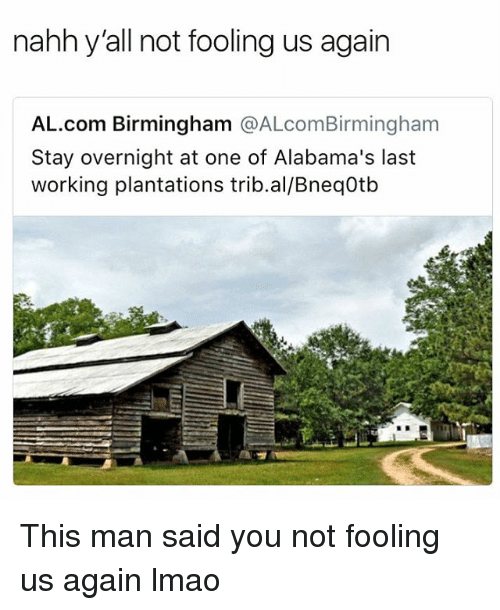 Funny, Lmao, and Working: nahh y'all not fooling us again  AL.com Birmingham @ALcomBirmingham  Stay overnight at one of Alabama's last  working plantations trib.al/Bneq0tb This man said you not fooling us again lmao