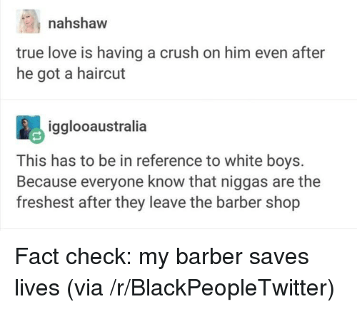 Barber Shop: nahshaw  true love is having a crush on him even after  he got a haircut  igglooaustralia  This has to be in reference to white boys.  Because everyone know that niggas are the  freshest after they leave the barber shop <p>Fact check: my barber saves lives (via /r/BlackPeopleTwitter)</p>