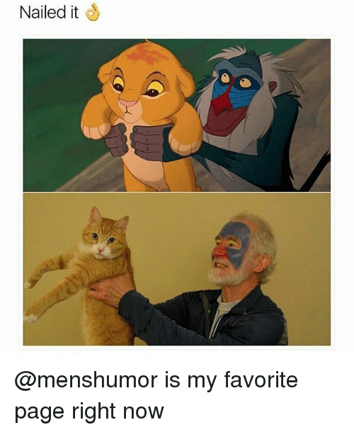 Funny, Page, and Pages: Nailed it @menshumor is my favorite page right now