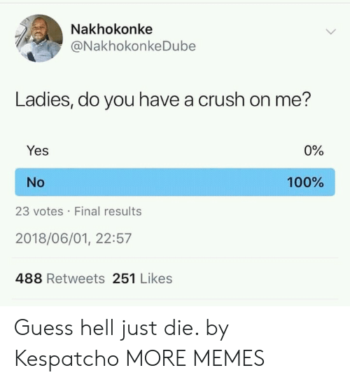 Just Die: Nakhokonke  @NakhokonkeDube  Ladies, do you have a crush on me?  Yes  0%  No  100%  23 votes Final results  2018/06/01, 22:57  488 Retweets 251 Likes Guess hell just die. by Kespatcho MORE MEMES