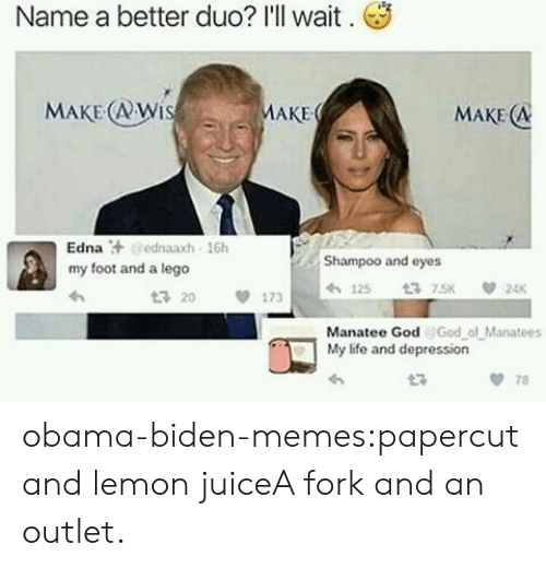 Obama Biden: Name a better duo? I'll wait.  MAKE (RWi  AKE  MAKE (A  Edna汁@ednaaxh , 16h  my foot and a lego  Shampoo and eyes  3 20  173 h 125  Manatee God God ol Manatees  My life and depression  t3  78 obama-biden-memes:papercut and lemon juiceA fork and an outlet.