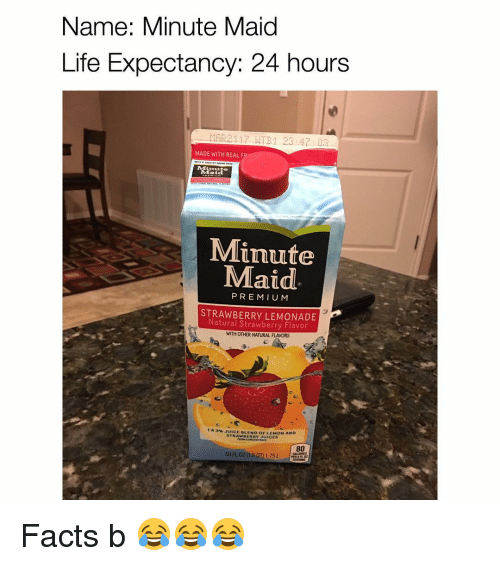 Memes, Minute Maid, and Lemonade: Name: Minute Maid  Life Expectancy: 24 hours  MAR21 17 ATB 1 23 47 03  MADE WITH REAL F  Maid  Minute  Maid  PREMIUM  Natural LEMONADE  Strawberry Flavor  WITH OTHER NATURAL FLAVORS  1 A 3% BLEND OF LEMON AND  STR  UICES  59 0208 1.75 L Facts b 😂😂😂