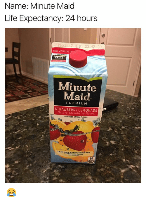 Memes, Minute Maid, and Lemonade: Name: Minute Maid  Life Expectancy: 24 hours  MAR21 17 ATB 1 23 03  MADE WITH REAL F  Minute  Maid  PREMIUM  STRAWBERRY LEMONADE  Strawberry Flavor  WITH OTHER NATURAL FLAVORS  A JUICE ALEND or LEMON AND  JUICES  80 😂