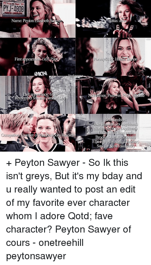 peyton sawyer: Name: Peyton Elizabeth Sage  nye  First  a  AMON  Occupation  ounder o  RedBedroom Records  Portrayed b  Bondi  PM  Relations  boy mend  athan Scott boyfriend)  SCO  Broo  ological  Off + Peyton Sawyer - So Ik this isn't greys, But it's my bday and u really wanted to post an edit of my favorite ever character whom I adore Qotd; fave character? Peyton Sawyer of cours - onetreehill peytonsawyer