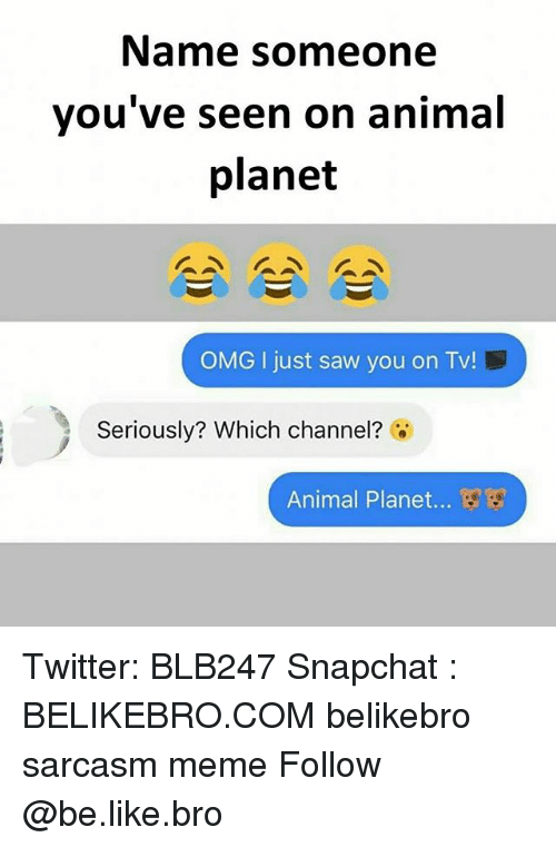 Animal Planet, Be Like, and Meme: Name someone  vou've seen on animal  planet  OMG I just saw you on Tv!  Seriously? Which channel?  Animal Planet... Twitter: BLB247 Snapchat : BELIKEBRO.COM belikebro sarcasm meme Follow @be.like.bro