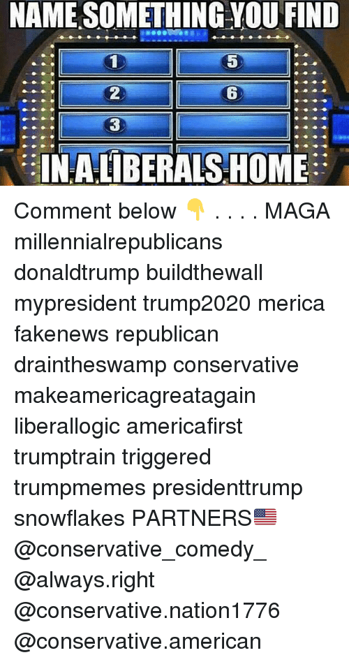 Memes, American, and Home: NAME SOMETHING VOU FIND  2  6  3  INALIBERALS HOME Comment below 👇 . . . . MAGA millennialrepublicans donaldtrump buildthewall mypresident trump2020 merica fakenews republican draintheswamp conservative makeamericagreatagain liberallogic americafirst trumptrain triggered trumpmemes presidenttrump snowflakes PARTNERS🇺🇸 @conservative_comedy_ @always.right @conservative.nation1776 @conservative.american