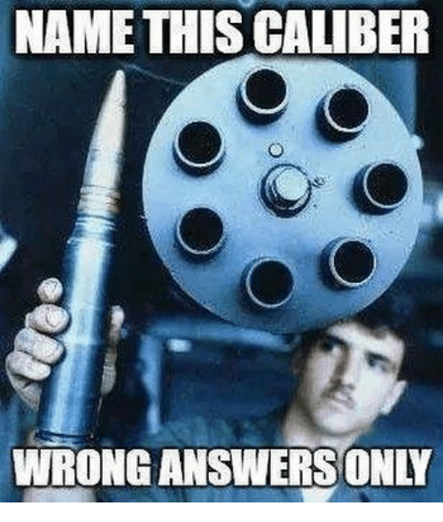 Memes, 🤖, and Answers: NAME THIS CALIBER  WRONG ANSWERS ONLY