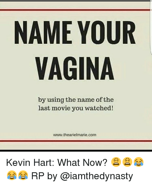 Kevin Hart, Memes, and Vagina: NAME YOUR  VAGINA  by using the name of the  last movie you watched!  www.thearielmarie com Kevin Hart: What Now? 😩😩😂😂😂 RP by @iamthedynasty