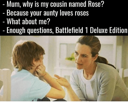 Memes, Rose, and Battlefield: named Rose?  my cousin named Rose?  Because your aunty loves roses  What about me?  Enough questions, Battlefield 1 Deluxe Edition