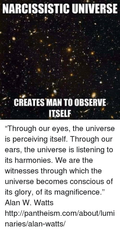 "Observative: NARCISSISTIC UNIVERSE  CREATES MAN TO OBSERVE  ITSELF ""Through our eyes, the universe is perceiving itself. Through our ears, the universe is listening to its harmonies. We are the witnesses through which the universe becomes conscious of its glory, of its magnificence.""  ― Alan W. Watts  http://pantheism.com/about/luminaries/alan-watts/"