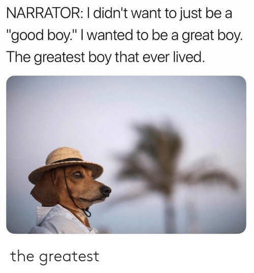 "Boy That: NARRATOR: I didn't want to just be a  ""good boy."" I wanted to be a great boy.  The greatest boy that ever lived. the greatest"