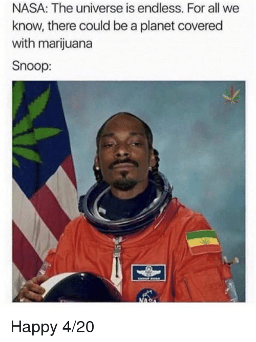 Dank, Nasa, and Snoop: NASA: The universe is endless. For all we  know, there could be a planet covered  with marijuana  Snoop: Happy 4/20