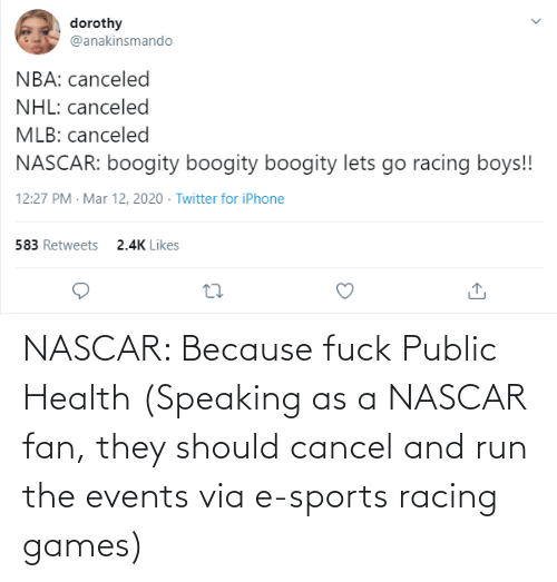 nascar: NASCAR: Because fuck Public Health (Speaking as a NASCAR fan, they should cancel and run the events via e-sports racing games)