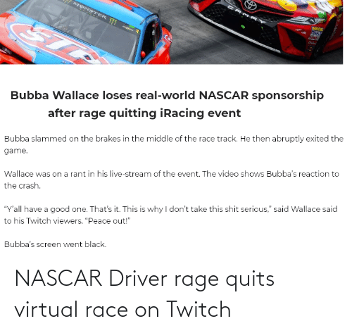 nascar: NASCAR Driver rage quits virtual race on Twitch