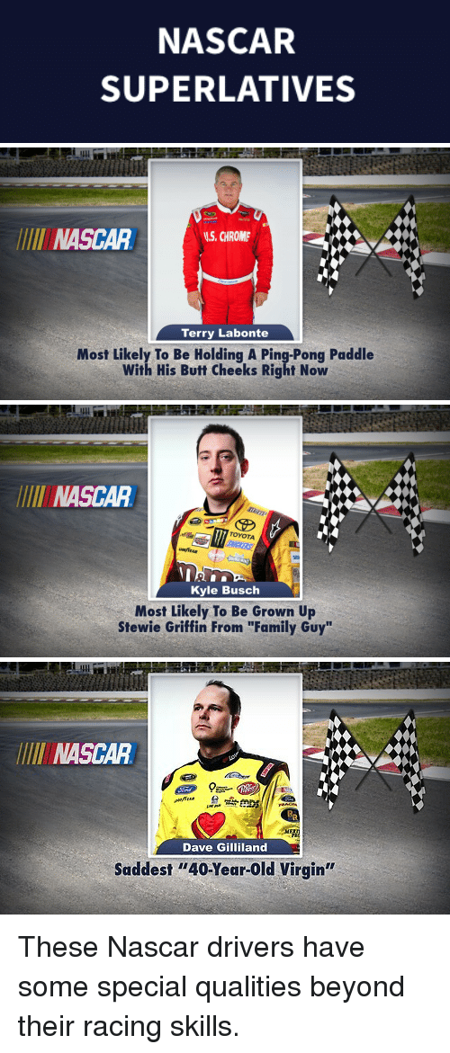 """Butt, Chrome, and Family: NASCAR  SUPERLATIVES   LUl  NASCAR  S. CHROME  Terry Labonte  Most Likely To Be Holding A Ping-Pong Paddle  With His Butt Cheeks Right Now   LUl  NASCAR  TOYOTA  SIEN  Kyle Busch  Most Likely To Be Grown Up  Stewie Griffin From """"Family Guy""""   INASCAR  Dave Gilliland  Saddest """"40-Year-Old Virgin"""" <p>These Nascar drivers have some special qualities beyond their racing skills.</p>"""