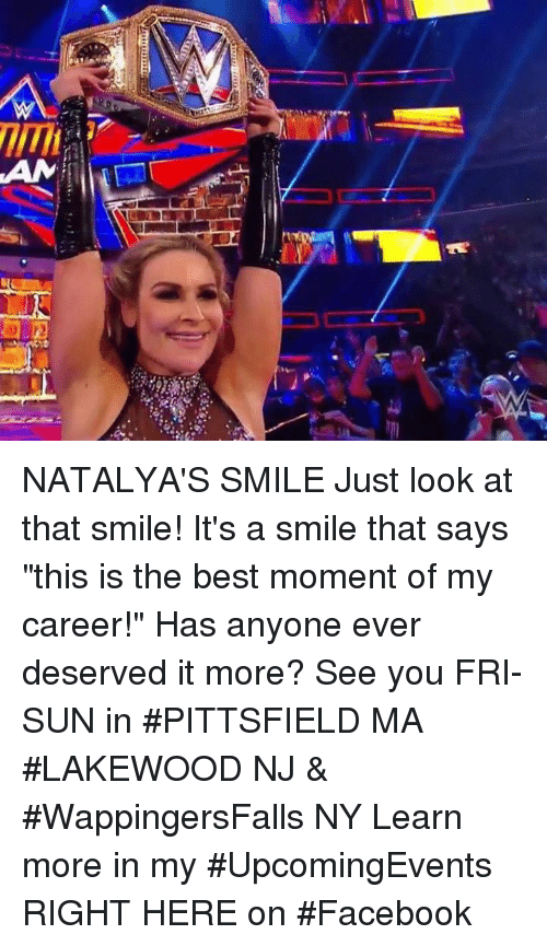 """Just Look At That: NATALYA'S SMILE Just look at that smile! It's a smile that says """"this is the best moment of my career!"""" Has anyone ever deserved it more?  See you FRI-SUN in #PITTSFIELD MA #LAKEWOOD NJ & #WappingersFalls NY Learn more in my #UpcomingEvents RIGHT HERE on #Facebook"""
