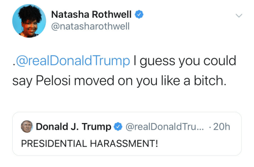 Guess, Trump, and You: Natasha Rothwell  @natasharothwell  @realDonaldTrump I guess you could  say Pelosi moved on you like a bitch.  Donald J. Trump  @realDonaldTru... 20h  PRESIDENTIAL HARASSMENT!