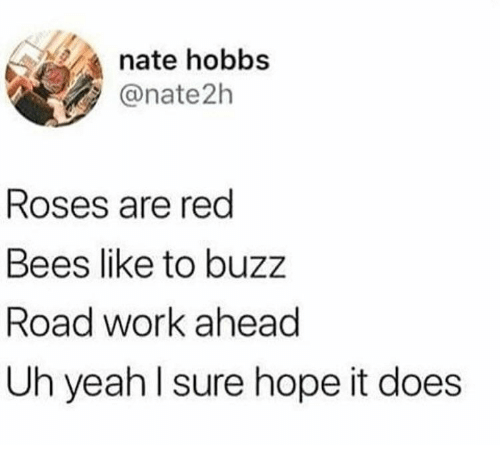 Yeah, Work, and Hope: nate hobbs  @nate2h  Roses are red  Bees like to buzz  Road work ahead  Uh yeah lsure hope it does