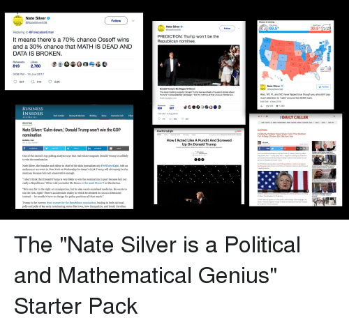 "Front Runners: Nate Silver  Follow  @NateSilver 538  Replying to  En  It means there's a 70% chance Ossoff wins  and a 30% chance that MATHIS DEAD AND  DATA IS BROKEN  Retweets Like  2,780  3:08 PM  4 Jun 2017  821 819 o 28K  BUSINESS  INSIDER  Nate Silver: 'Calm down,' Donald Trump won't win the G0P  nomination  One of the  nation's top polling analysts says that real-estate magnate Donald Trumpis unlikely  to win the nomination  Nate Silver, the founder and editor in chief of the data journalism site FiveThirtyEight, told an  audience at an event in New Yorkon Wednesday he doesn't think Trump will ultimately be the  nominee because he's not conservative enough.  I don't think that Donald Trump is very likely to win the nomination in part because he's not  ly a Republi  he 92nd Street Y  Manhatt  st Mo Rocca  He's very far to the right on immigration, but he also  wants socialised medicine. He wants to  tax the rich, right? There's an alternate reality  in which he decided torun as a Democrat  instead he wouldn't have to change his policy positions all that much  Trump is the current front-runner for the Republican nomination, leading in both national  polls  d polls of key  like  Hampshire,  d South Caroli  a, N  Nate Silver  PREDICTION: Trump won't be the  Republican nominee.  Donald Trump's Six Stages of Doom  The recent  polling surge by Donald Trump has launched athousand stories about  Trump's ""unprecedented campaign."" But it's nothing all that unusual: Similar sur..  893  697  7:24 AM-6 Aug  Thirty  How I Acted Like A Pundit And Screwed  Up On Donald Trump  69.5%  30.5%  Nate Silver  Follow  Also, NV, FL and NC ha  pped b  though y  shouldn't pay  ch attenti  to ""cal  nd the 50/50  :06 AM 8 Nov 2016  DAILY CALLER  ELECTION  ry Cl"
