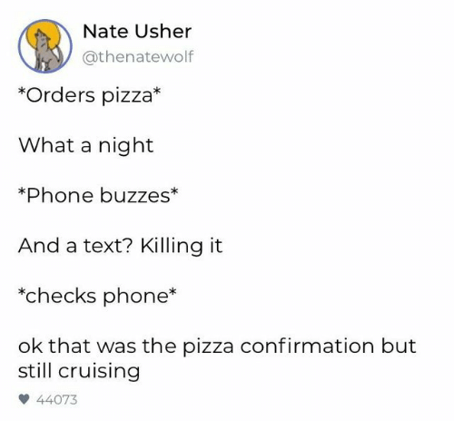 Usher: Nate Usher  @thenatewolf  *Orders pizza*  What a night  *Phone buzzes*  And a text? Killing it  *checks phone  ok that was the pizza confirmation but  still cruising  44073