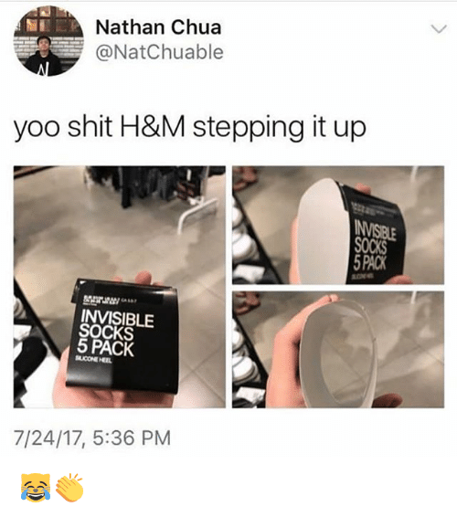 Coneing: Nathan Chua  @NatChuable  yoo shit H&M stepping it up  PACK  INVISIBLE  SOCKS  5 PACK  CONE HEL  7/24/17, 5:36 PM 😹👏
