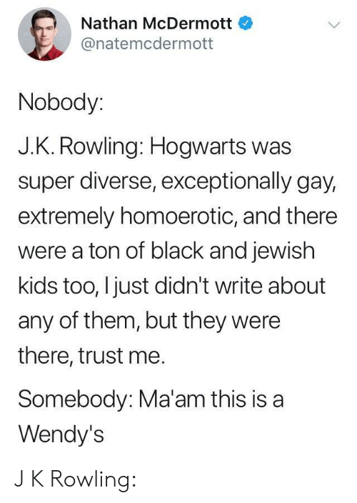 Diverse: Nathan McDermott  @natemcdermott  Nobody:  J.K. Rowling: Hogwarts was  super diverse, exceptionally gay,  extremely homoerotic, and there  were a ton of black and jewish  kids too, I just didn't write about  any of them, but they were  there, trust me.  Somebody: Ma'am this is a  Wendy's J K Rowling: