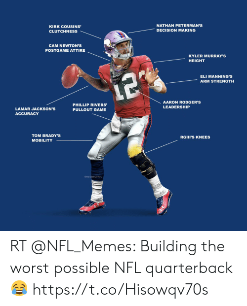 Pullout game: NATHAN PETERMAN'S  KIRK COUSINS'  DECISION MAKING  CLUTCHNESS  CAM NEWTON'S  POSTGAME ATTIRE  KYLER MURRAY'S  HEIGHT  ELI MANNING'S  12  ARM STRENGTH  AARON RODGER'S  PHILLIP RIVERS'  LEADERSHIP  LAMAR JACKSON'S  PULLOUT GAME  ACCURACY  TOM BRADY'S  RGIII'S KNEES  MOBILITY  MEMESOFNFL RT @NFL_Memes: Building the worst possible NFL quarterback 😂 https://t.co/Hisowqv70s