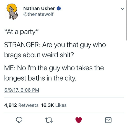 Party, Shit, and Usher: Nathan Usher  @thenatewolf  At a party*  STRANGER: Are you that guy who  brags about weird shit?  ME: No I'm the guy who takes the  longest baths in the city.  6/9/1Z_6:06 PM  4,912 Retweets 16.3K Likes