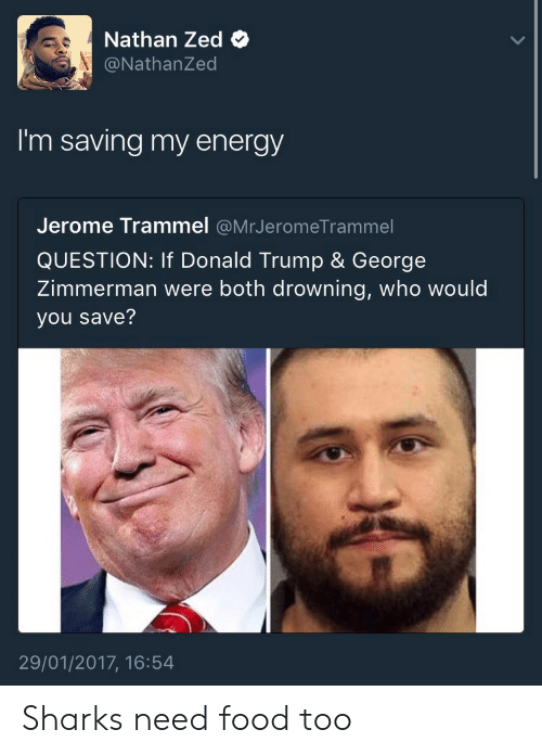 Need Food: Nathan Zed  @NathanZed  I'm saving my energy  Jerome Trammel @MrJeromeTrammel  QUESTION: If Donald Trump & George  Zimmerman were both drowning, who would  you save?  29/01/2017, 16:54 Sharks need food too