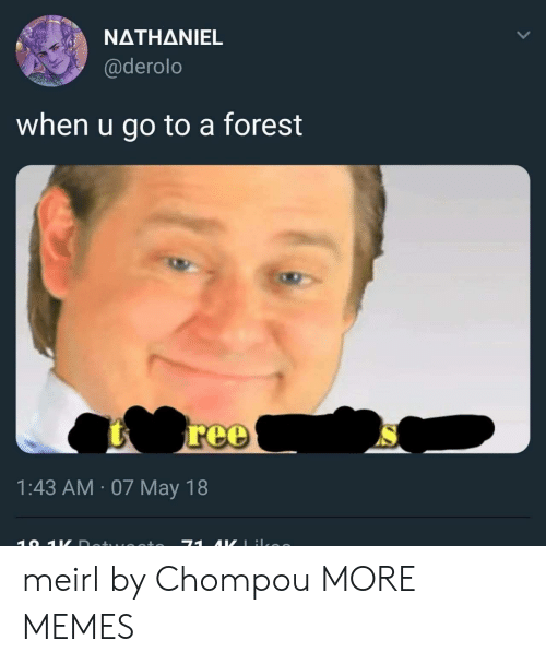 Nathaniel: NATHANIEL  @derolo  when u go to a forest  1:43 AM 07 May 18 meirl by Chompou MORE MEMES