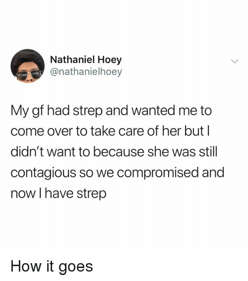 Come Over, Contagious, and Dank Memes: Nathaniel Hoey  @nathanielhoey  My gf had strep and wanted me to  come over to take care of her but l  didn't want to because she was still  contagious so we compromised and  now I have strep How it goes