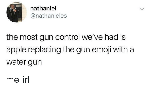 Nathaniel: nathaniel  @nathanielcs  the most gun control we've had is  apple replacing the gun emoji with a  water gurn me irl