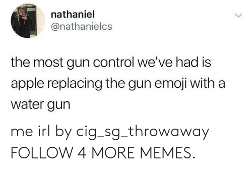 water gun: nathaniel  @nathanielcs  the most gun control we've had is  apple replacing the gun emoji with a  water gun me irl by cig_sg_throwaway FOLLOW 4 MORE MEMES.