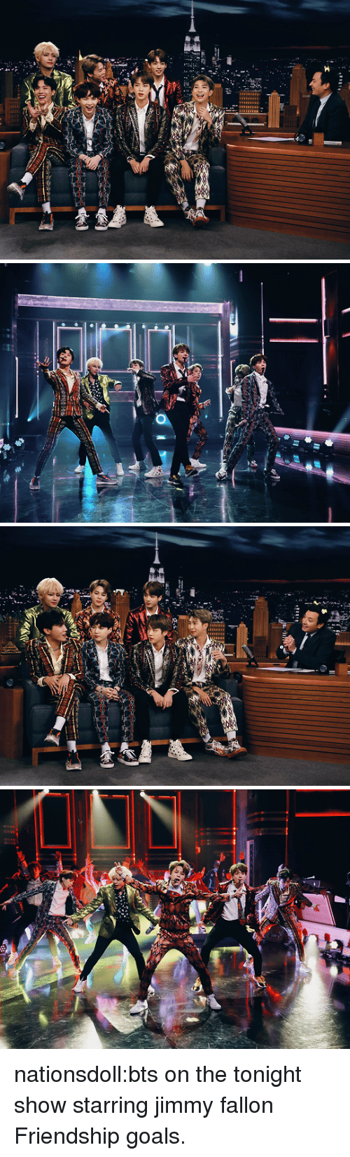 tonight show: nationsdoll:bts on the tonight show starring jimmy fallon Friendship goals.