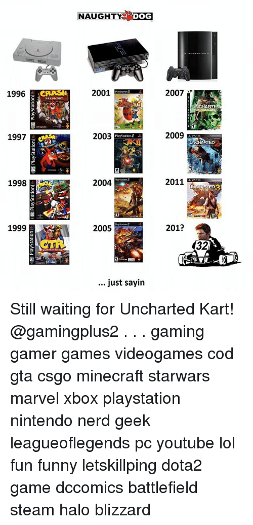 Funny, Halo, and Lol: NAUGHTY DOG  1996  2001  2007  1997  2003  2009  PlayStation.2  2  1998  2004  2011  3  1999  2005  201?  32  just sayin Still waiting for Uncharted Kart! @gamingplus2 . . . gaming gamer games videogames cod gta csgo minecraft starwars marvel xbox playstation nintendo nerd geek leagueoflegends pc youtube lol fun funny letskillping dota2 game dccomics battlefield steam halo blizzard