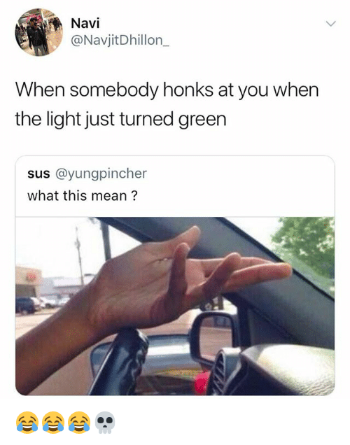 Mean, Girl Memes, and Light: Navi  @NavjitDhillon_  When somebody honks at you when  the light just turned greern  sus @yungpincher  what this mean? 😂😂😂💀