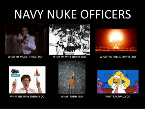 What My Mom Thinks I Do: NAVY NUKE OFFICERS  WHAT MY MOM THINKS I DO  WHAT MY WIFE THINKS I DO  WHAT THE PUBLICTHINKSIDO  WHAT THE NAVY THINKS I DO  WHAT ITHINKIDO  WHAT IACTUALLY DO
