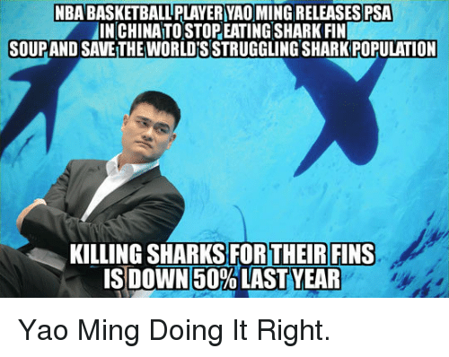 Doing It Right: NBA BASKETBALL PLAYER YAO MING RELEASES PSA  INCHINA TO STOP EATINGSHARK FIN  SOUPAND SAVE THE WORLD'S STRUGGLING SHARK POPULATION  KILLING SHARKS FORTHEIRFINS  ISIDOWN50% LAST YEAR <p>Yao Ming Doing It Right.</p>