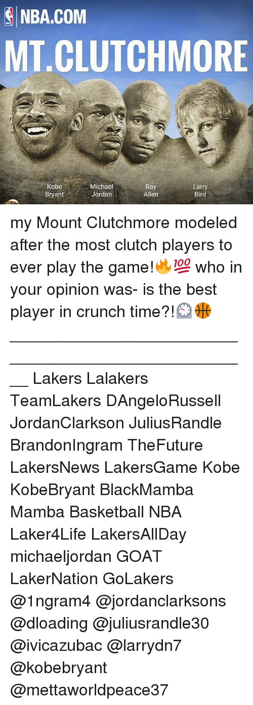 Basketball, Los Angeles Lakers, and Memes: NBA.COM  MT.CLUTCHMORE  Michael  Ray  Larry  Bird  Bryant  Jordan  Allen my Mount Clutchmore modeled after the most clutch players to ever play the game!🔥💯 who in your opinion was- is the best player in crunch time?!⏲🏀 ____________________________________________________ Lakers Lalakers TeamLakers DAngeloRussell JordanClarkson JuliusRandle BrandonIngram TheFuture LakersNews LakersGame Kobe KobeBryant BlackMamba Mamba Basketball NBA Laker4Life LakersAllDay michaeljordan GOAT LakerNation GoLakers @1ngram4 @jordanclarksons @dloading @juliusrandle30 @ivicazubac @larrydn7 @kobebryant @mettaworldpeace37