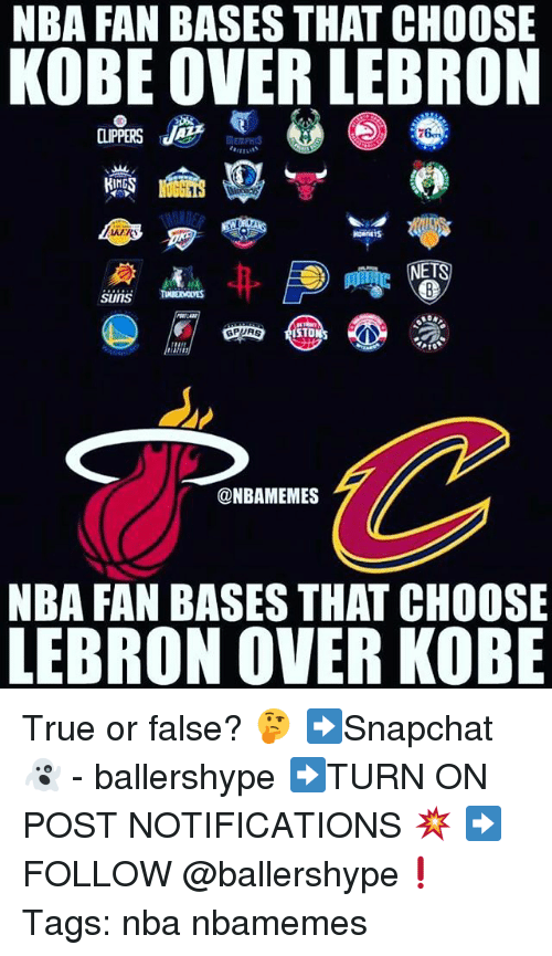 Nba, True, and Kobe: NBA FAN BASES THAT CHOOSE  KOBE OVER LEBRON  ING  HORNETS  ET  ISTO  @NBAMEMES  NBA FAN BASES THAT CHOOSE  LEBRON OVER KOBE True or false? 🤔 ➡Snapchat 👻 - ballershype ➡TURN ON POST NOTIFICATIONS 💥 ➡ FOLLOW @ballershype❗ Tags: nba nbamemes