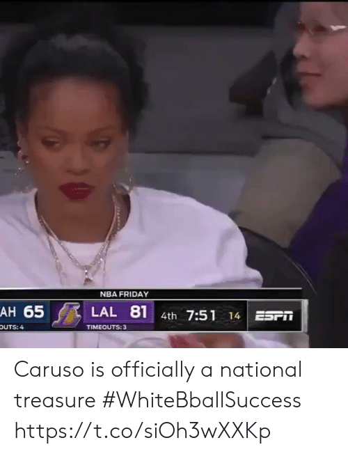 caruso: NBA FRIDAY  AH 65  81  LAL  4th 7:51  ESr  14  TIMEOUTS: 3  OUTS: 4 Caruso is officially a national treasure #WhiteBballSuccess https://t.co/siOh3wXXKp