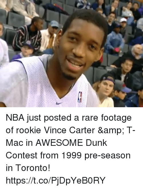 vince carter: NBA just posted a rare footage of rookie Vince Carter & T-Mac in AWESOME Dunk Contest from 1999 pre-season in Toronto! https://t.co/PjDpYeB0RY