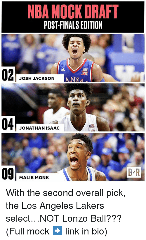 Los Angeles Lakers: NBA MOCK DRAFT  POSTFINALSEDITION  JOSH JACKSON  JONATHAN ISAAC  MALIK MONK  BR With the second overall pick, the Los Angeles Lakers select…NOT Lonzo Ball??? (Full mock ➡️ link in bio)